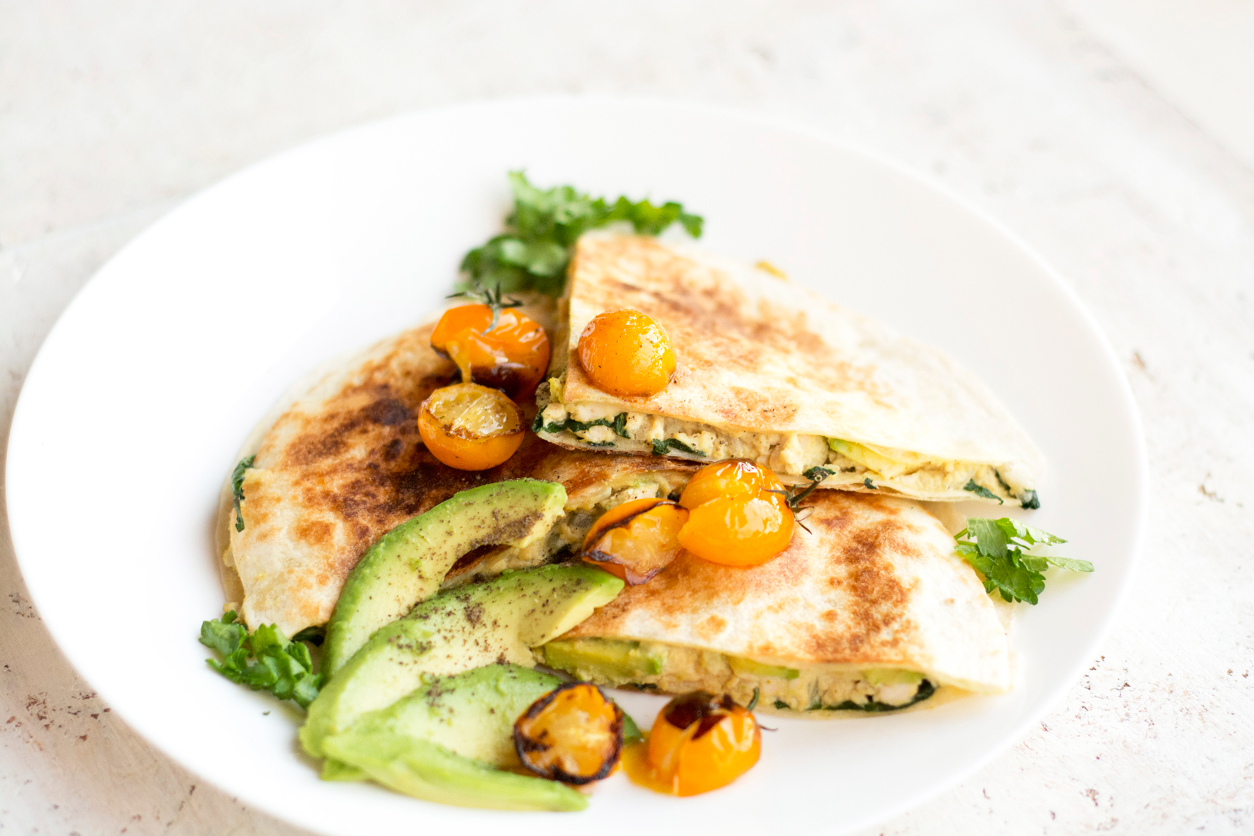 Vegan Breakfast Quesadillas with Scrambled Eggs and Avocado